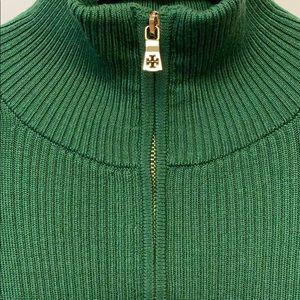 Tory Burch Merino Wool Half-zip Tunic Sweater.